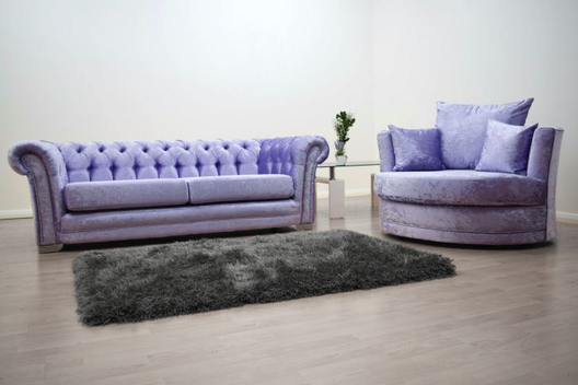 Anna Chesterfield 3 Seater and Cuddle Chair in Lavender Velvet | HOS Home | Mirrored furniture | Affordable Luxury