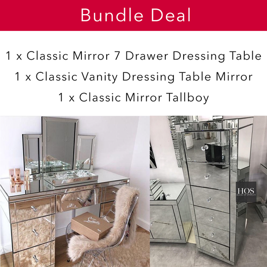 Classic Mirrored Bedroom Bundle | HOS Home | Mirrored furniture | Affordable Luxury