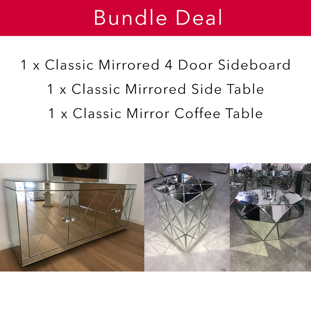 Classic Mirror Living Bundle | HOS Home | Mirrored furniture | Affordable Luxury