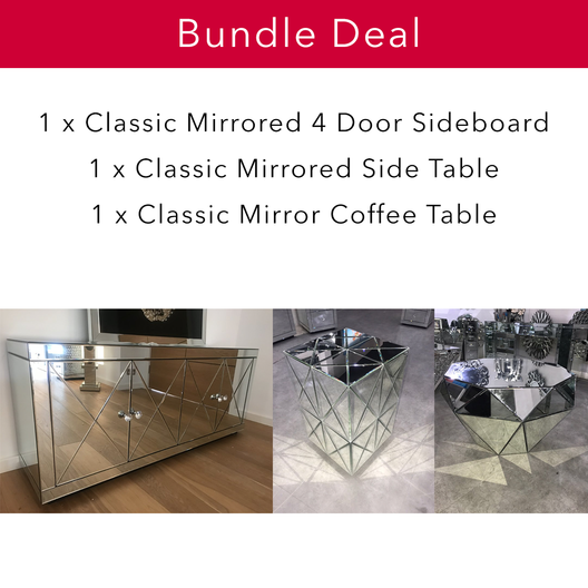 Classic Mirrored Living Bundle | HOS Home | Mirrored furniture | Affordable Luxury