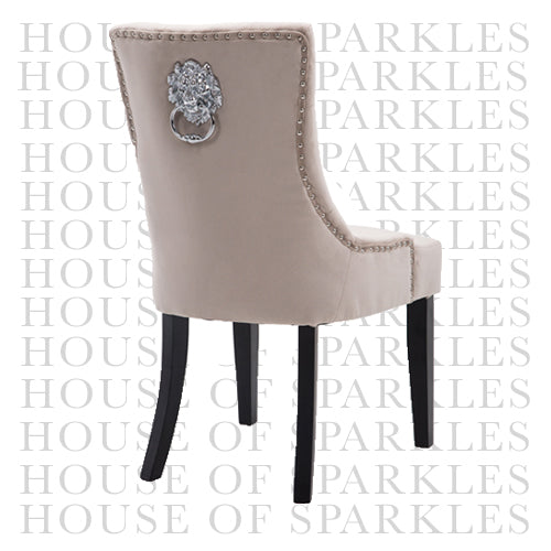 Lion Dining Chair Smooth Velvet Cream (Box of 2 chairs)