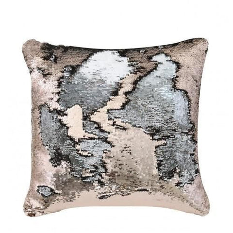 Mermaid Cushion Copper & Silver - Mirrored furniture - Sparkle Diamond - House of Sparkles