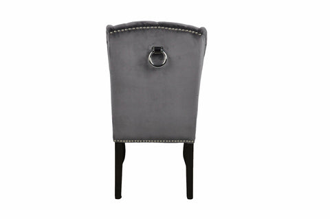 Dark Grey Luxury Wing Back Dining Chairs - Mirrored furniture - Sparkle Diamond - House of Sparkles
