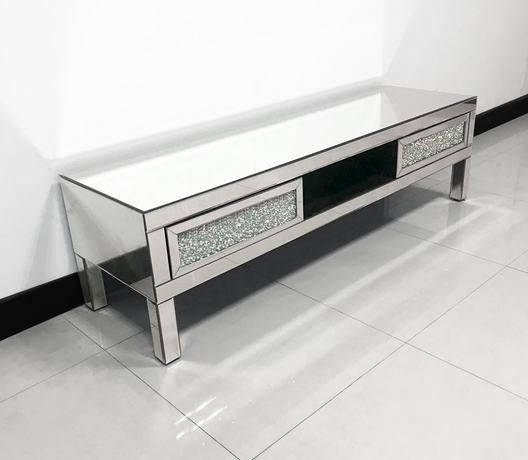 Diamond Crush Low Mirrored Media Unit | HOS Home | Mirrored furniture | Affordable Luxury