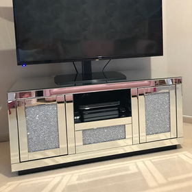 Diamond Crush Mirrored Media Unit | HOS Home | Mirrored furniture | Affordable Luxury