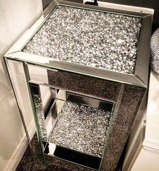 Diamond Crush Small Mirrored Side Table | HOS Home | Mirrored furniture | Affordable Luxury