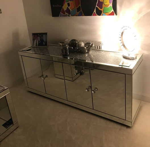 Diamond Crush 4 Door Mirrored Sideboard | HOS Home | Mirrored furniture | Affordable Luxury