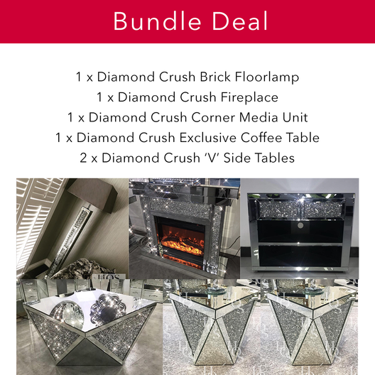 Diamond Crush Mirrored Super Bundle | HOS Home | Mirrored furniture | Affordable Luxury