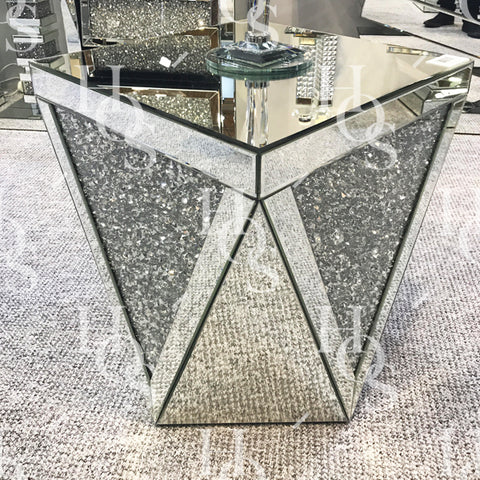 Diamond Crush V Side Table - Mirrored furniture - Sparkle Diamond - House of Sparkles