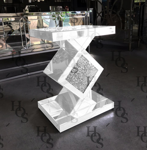 White Mirror Crush Diamond Side Table