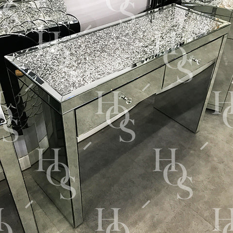 Diamond Crush on Top 2 Drawer Dressing Table - Mirrored furniture - Sparkle Diamond - House of Sparkles