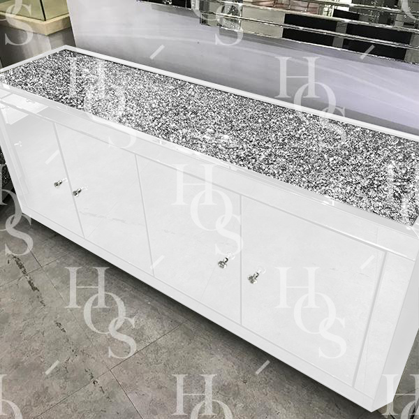 White Mirror Crush 4 Door Sideboard House Of Sparkles