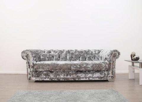 Anna Chesterfield 3 Seater in Silver Double Crush - Mirrored furniture - Sparkle Diamond - House of Sparkles