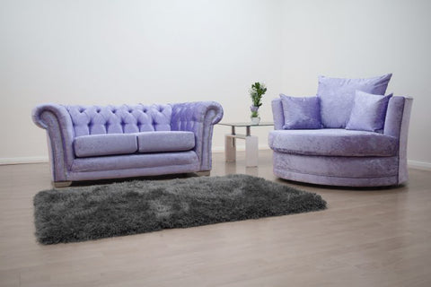 Anna Chesterfield 2 Seater and Cuddle Chair in Lavender - Mirrored furniture - Sparkle Diamond - House of Sparkles
