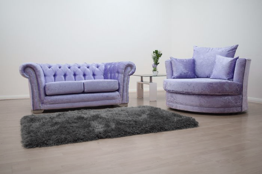 Anna Chesterfield 2 Seater and Cuddle Chair in Lavender | HOS Home | Mirrored furniture | Affordable Luxury