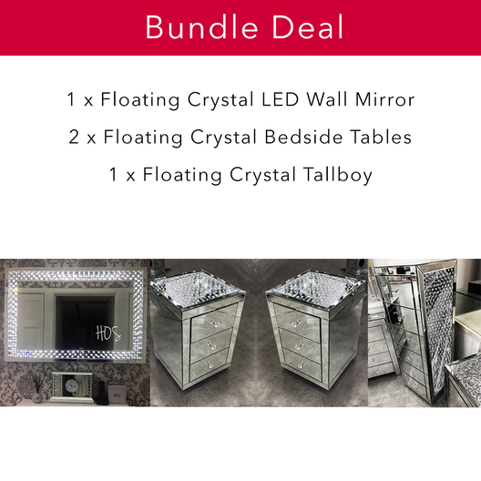 Floating Crystal Bedroom Bundle | HOS Home | Mirrored furniture | Affordable Luxury