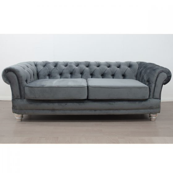 Anna Chesterfield 3 Seater Sofa in Smooth Velvet Dusk - Mirrored furniture - Sparkle Diamond - House of Sparkles