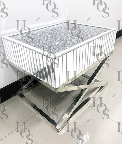 The Gatsby White Mirror Crush Side Table