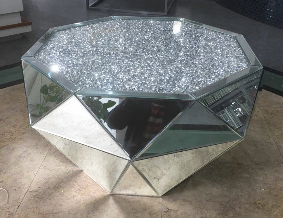 Diamond Crush Classic Mirror Coffee Table - Mirrored furniture - Sparkle Diamond - House of Sparkles