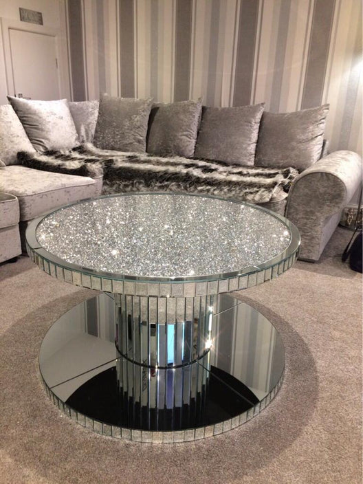Diamond Crush Circular Mirrored Coffee Table | HOS Home | Mirrored furniture | Affordable Luxury