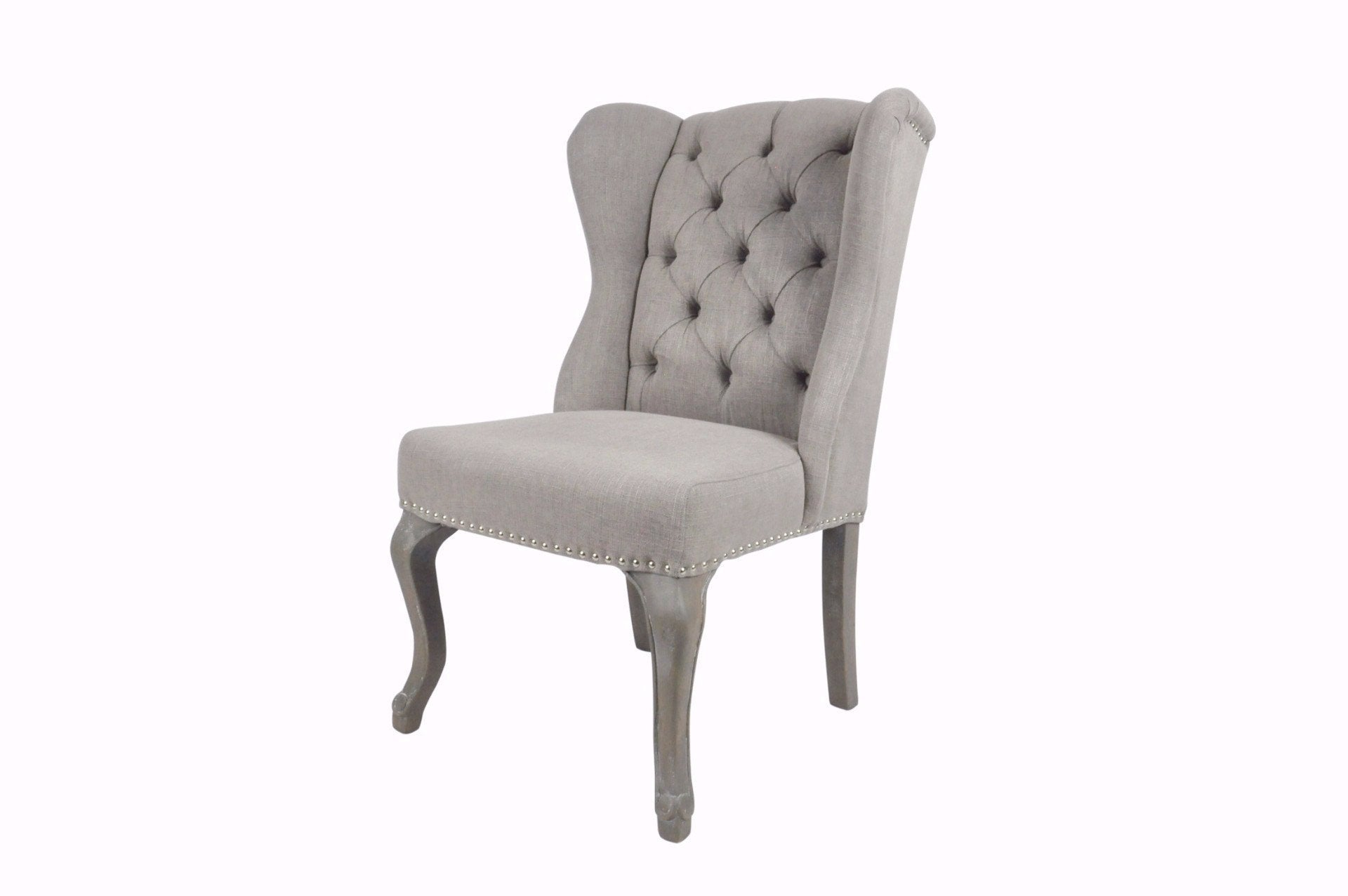 Silver Linen Luxury Wing Back Dining Chairs
