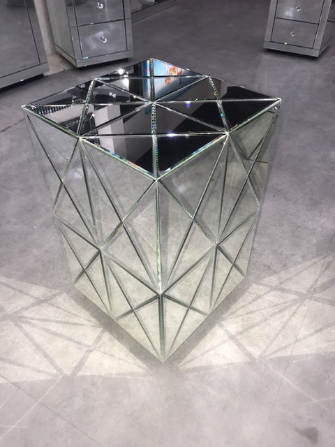 Classic Mirrored Side Table - Mirrored furniture - Sparkle Diamond - House of Sparkles