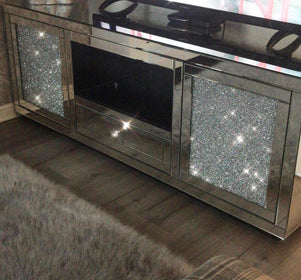 February Delivery -  Large Diamond Crush Mirrored Media Unit | HOS Home | Mirrored furniture | Affordable Luxury