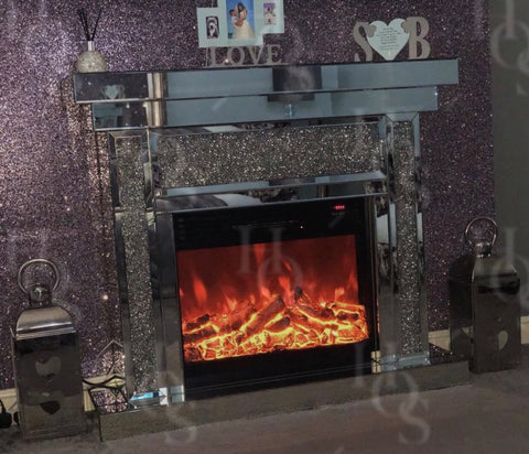 Diamond Crush Fire Place with Electric Fire