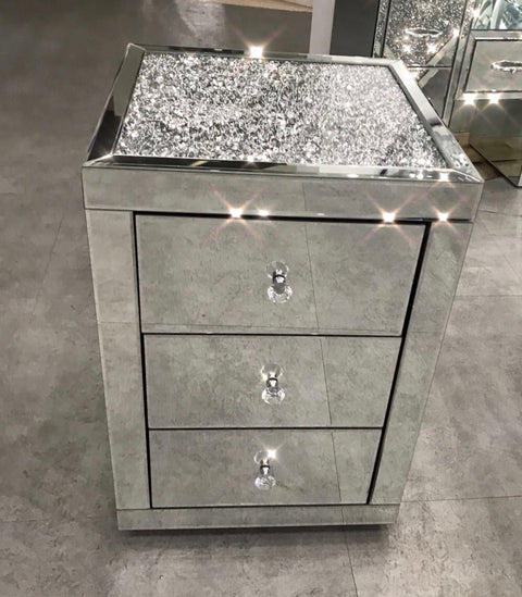Diamond Crush Top Bedside Table
