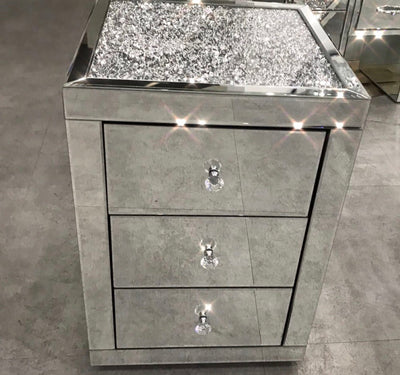 Diamond Crush Top Bedside Table - PRE ORDER FOR JAN 2019