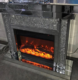 Diamond Crush Mirrored Electric Fireplace | HOS Home | Mirrored furniture | Affordable Luxury