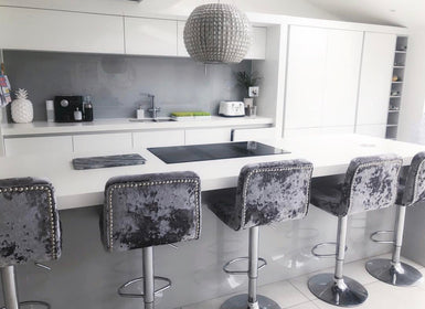Crushed Velvet Metal base Bar Stools | HOS Home | Mirrored furniture | Affordable Luxury