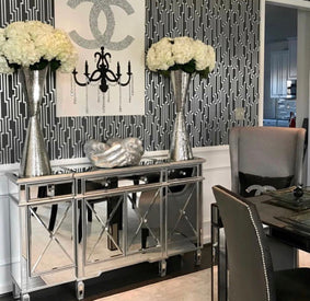 Classic Regency Mirrored Cabinet With Silver Trim | Mirrored ...