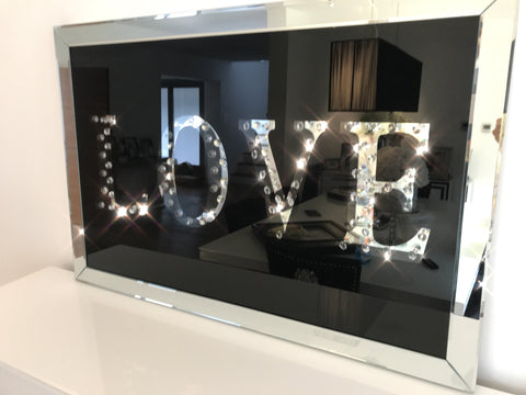 Floating Crystal Love Wall Art - Mirrored furniture - Sparkle Diamond - House of Sparkles