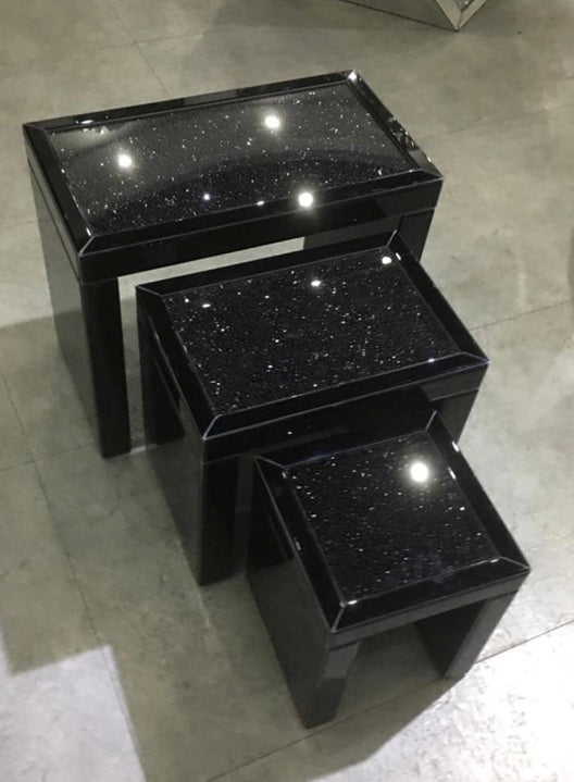 Black Mirror Crush Mirrored Nest of 3 Tables | HOS Home | Mirrored furniture | Affordable Luxury