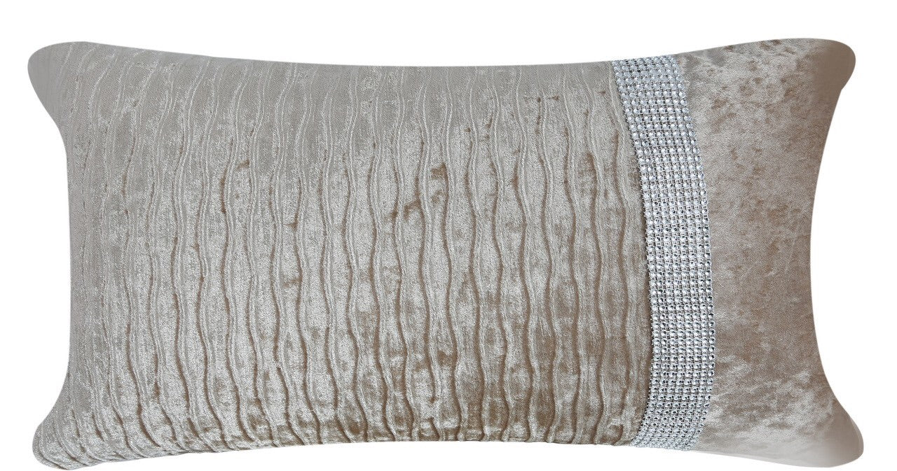 Champagne Rectangular Crushed Velvet Cushion - Mirrored furniture - Sparkle Diamond - House of Sparkles