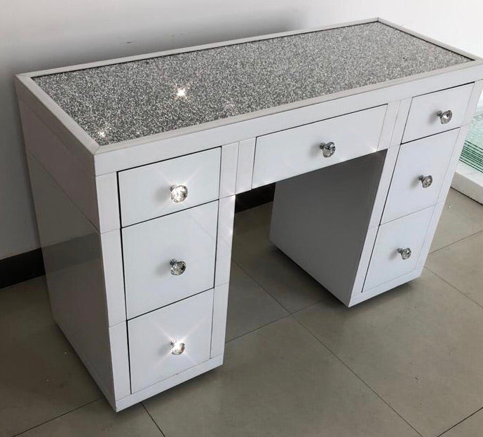 White Mirror Crush 7 Drawer Dressing Table