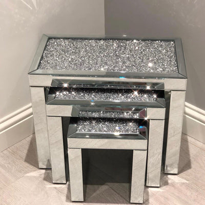 Diamond Crush Nest of 3 Side Tables - PRE ORDER FOR JAN 2019