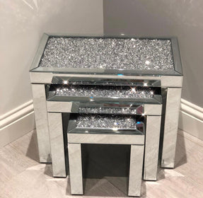 Diamond Crush Nest of 3 Mirrored Side Tables | HOS Home | Mirrored furniture | Affordable Luxury