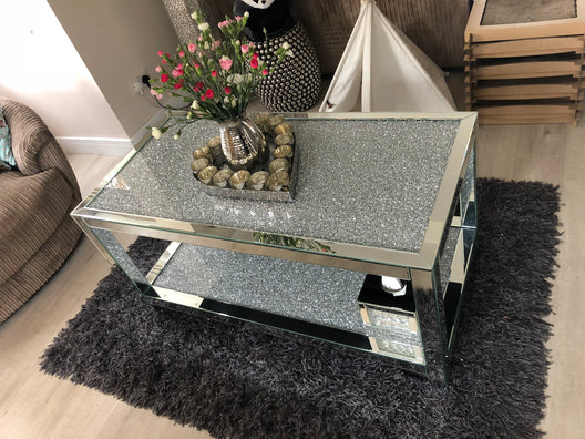 Diamond Crush 2 Tier Mirrored Coffee Table | HOS Home | Mirrored furniture | Affordable Luxury