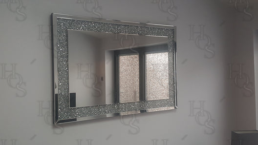 Diamond Crush Wall Mirror (120X80cm) | HOS Home | Mirrored furniture | Affordable Luxury
