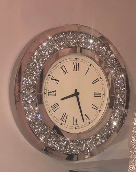 Diamond Crush Circular Mirrored Wall Clock | HOS Home | Mirrored furniture | Affordable Luxury