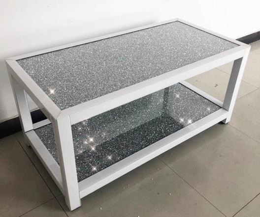White Mirror Crush 2 Tier Mirrored Coffee Table