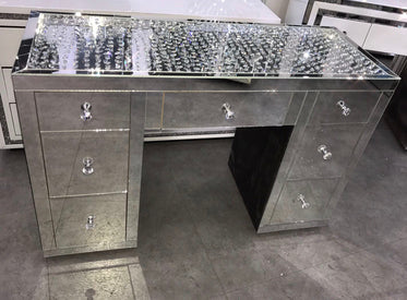 Floating Crystal On Top 7 Drawer Mirrored Dressing Table