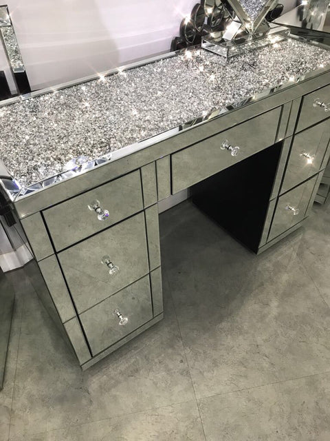 Diamond Crush on Top 7 Drawer Dressing Table - Mirrored furniture - Sparkle Diamond - House of Sparkles