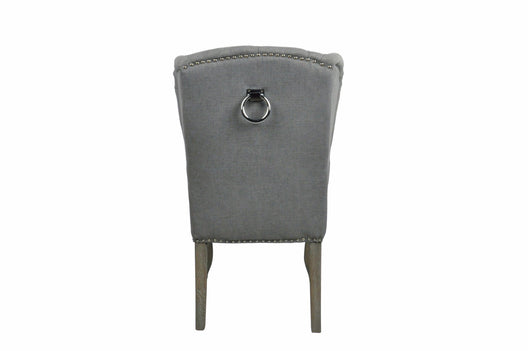Grey Linen Luxury Wing Back Dining Chairs