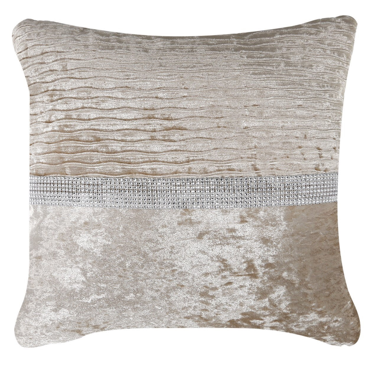 Champagne Crushed Velvet Cushion - Mirrored furniture - Sparkle Diamond - House of Sparkles