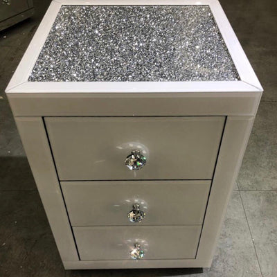 White Mirror Crush 3 Drawer Bedside Table
