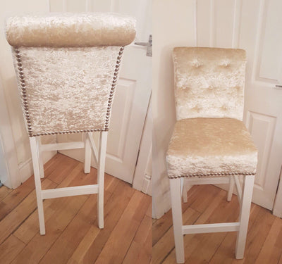 Button Back Wooden Frame Bar Stools