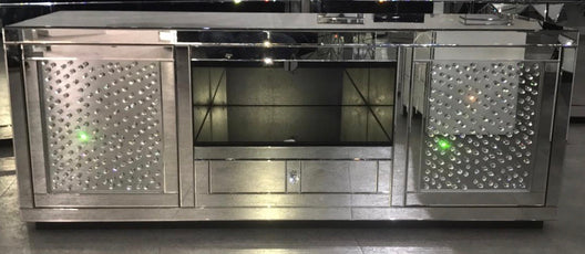 Large Floating Crystal Mirrored Media Unit